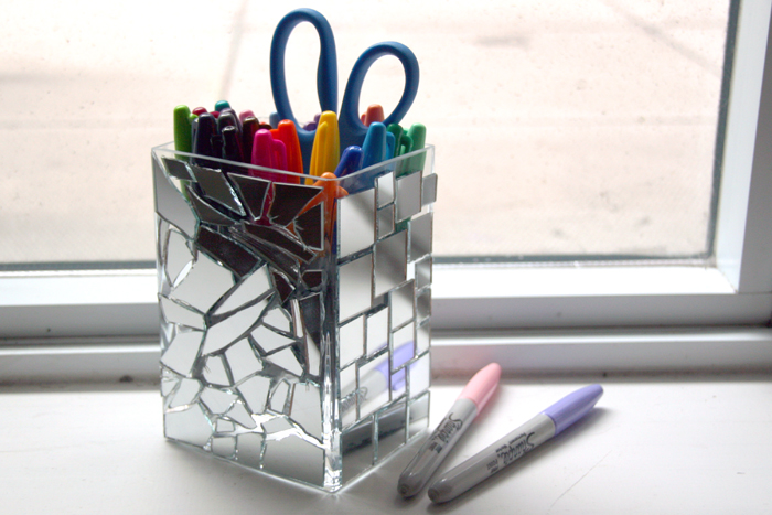 mirror mosaic pencil holder