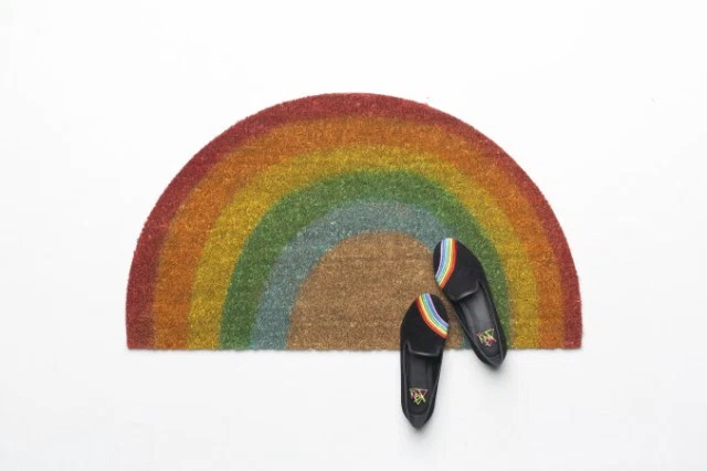 rainbow welcome mat