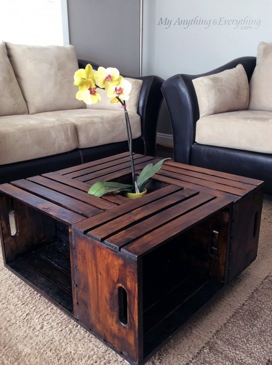 10 creative diy coffee tables with storage. Black Bedroom Furniture Sets. Home Design Ideas