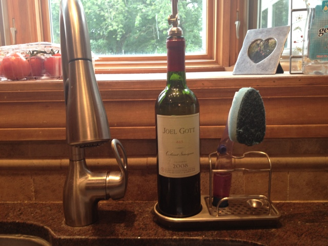 Turn a wine bottle into a dish soap dispenser