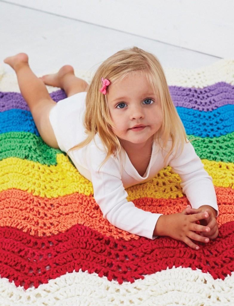 Wavy Rainbow Crochet Baby Blanket