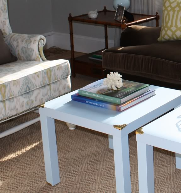 Attach Brass Corners to Your Plain Coffee Table