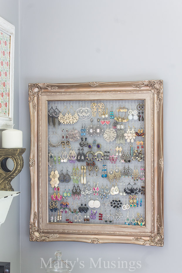 Framed Jewelry and Earring Organizer