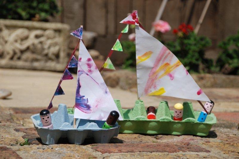 Egg Carton Sail Boat