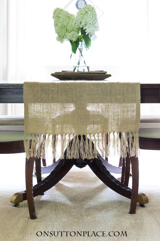 Burlap Table Runner with Tassels