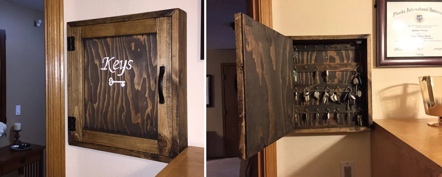 Rustic Wood Key Cabinet