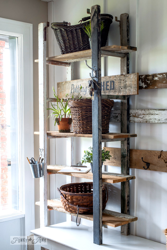 shelving made with 2 ladders