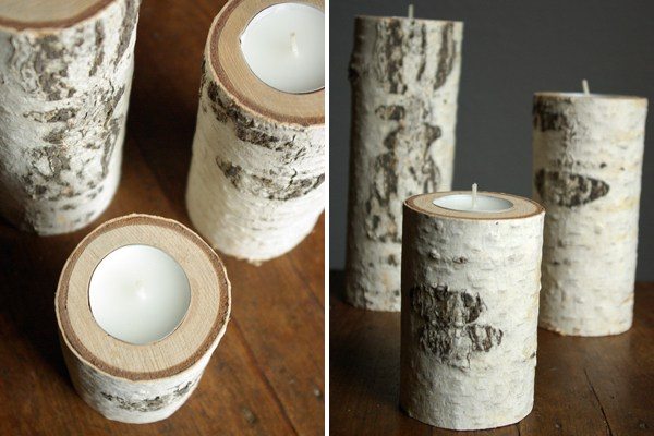 Birch Wood Candle Holders