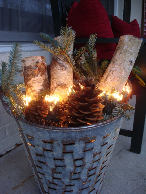 Metal Bucket With Birch Logs And Pine Cones