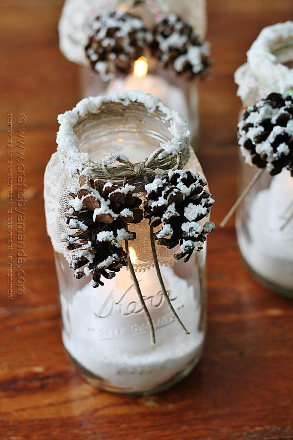Snowy Pinecone Candle Jar Luminaries