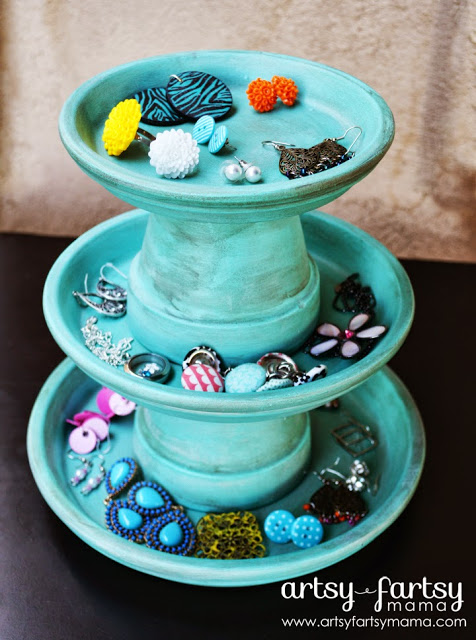 3 Tier Terracotta Pot Jewelry Stand