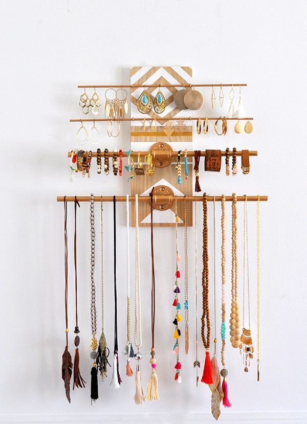 Geometric Industrial Wall Jewelry Organizer