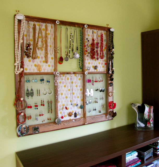 Old Window Frame Turned Jewelry Display
