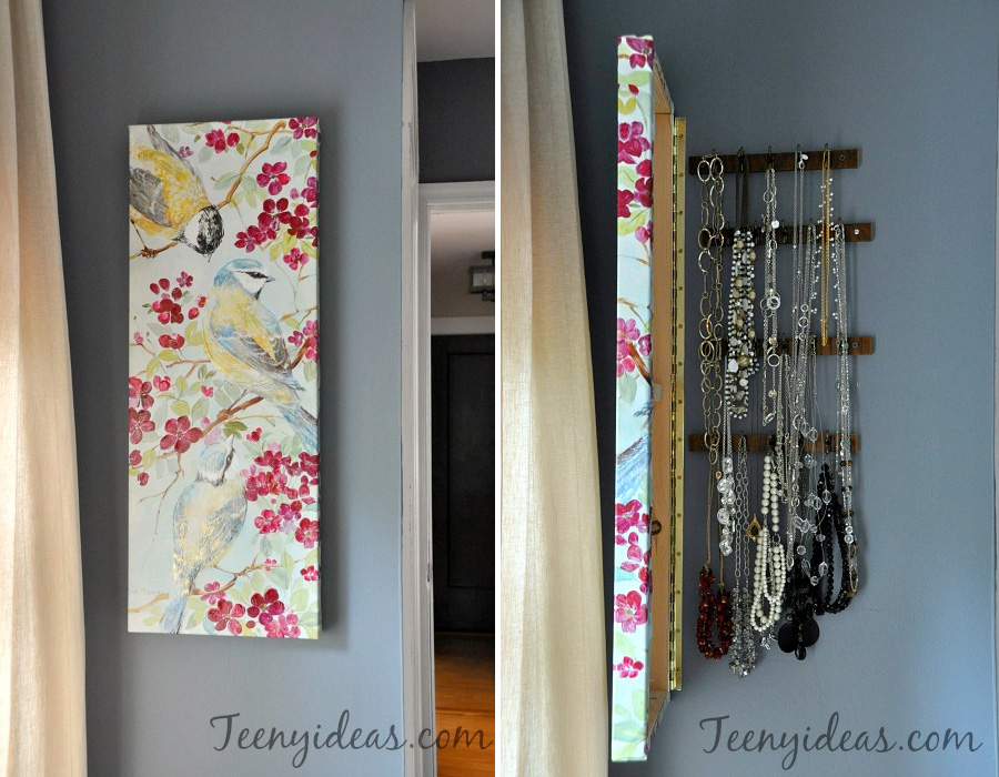 Wall Canvas with Hidden Jewelry Storage