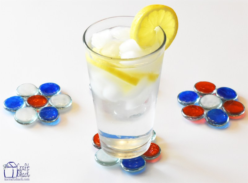 Patriotic glass pebble coasters