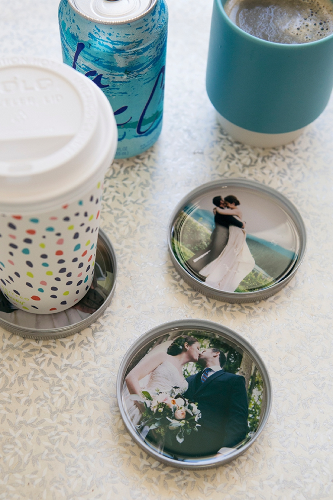Photo Mason Jar Lid Coasters