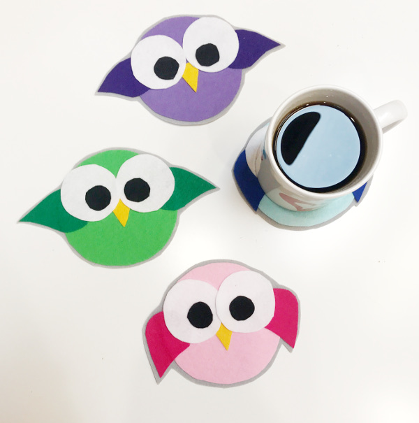 colorful felt bird coasters