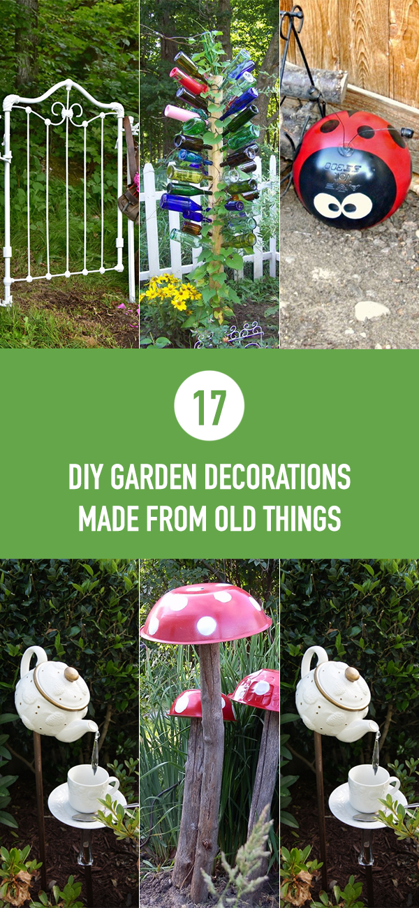 17 Amazing DIY Garden Decorations Made From Old Things