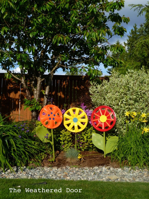 Adorable Hubcap Flowers