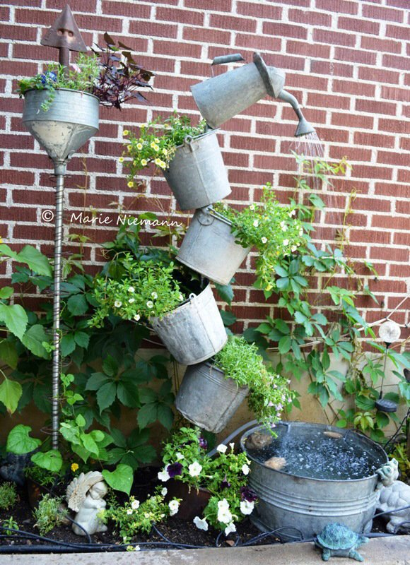 Garden Fountain from Galvanized Buckets