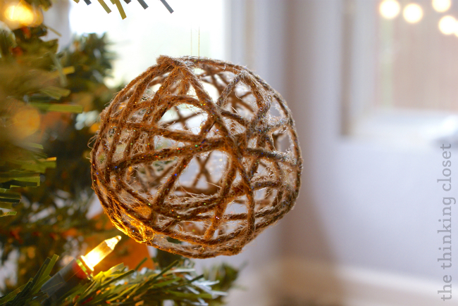 Glitter Twine Ball Ornament
