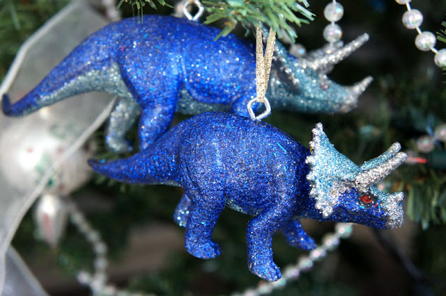 Glittered Dinosaur Ornaments
