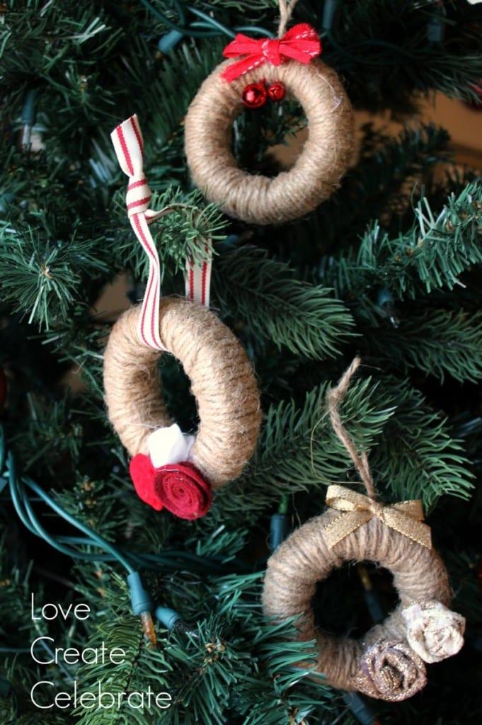 Jute String Mini Wreath Ornaments