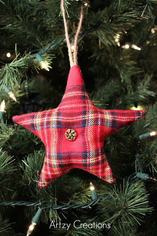 Rustic Flannel Star Ornament
