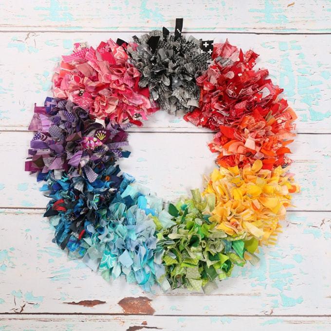 Rainbow Fabric Scrap Rag Wreath