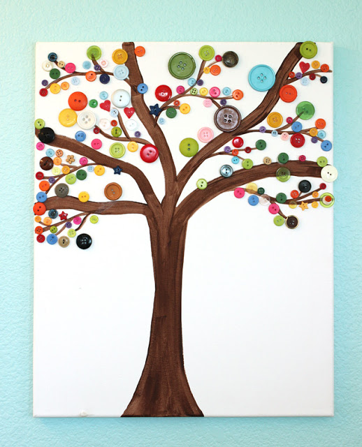 Button Tree Canvas Art