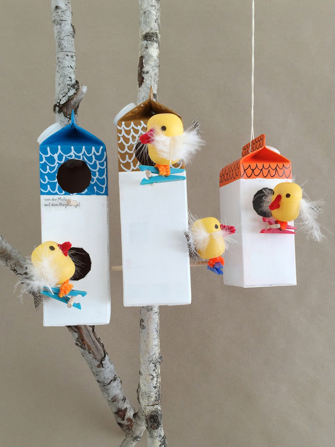 Milk Carton Bird Houses