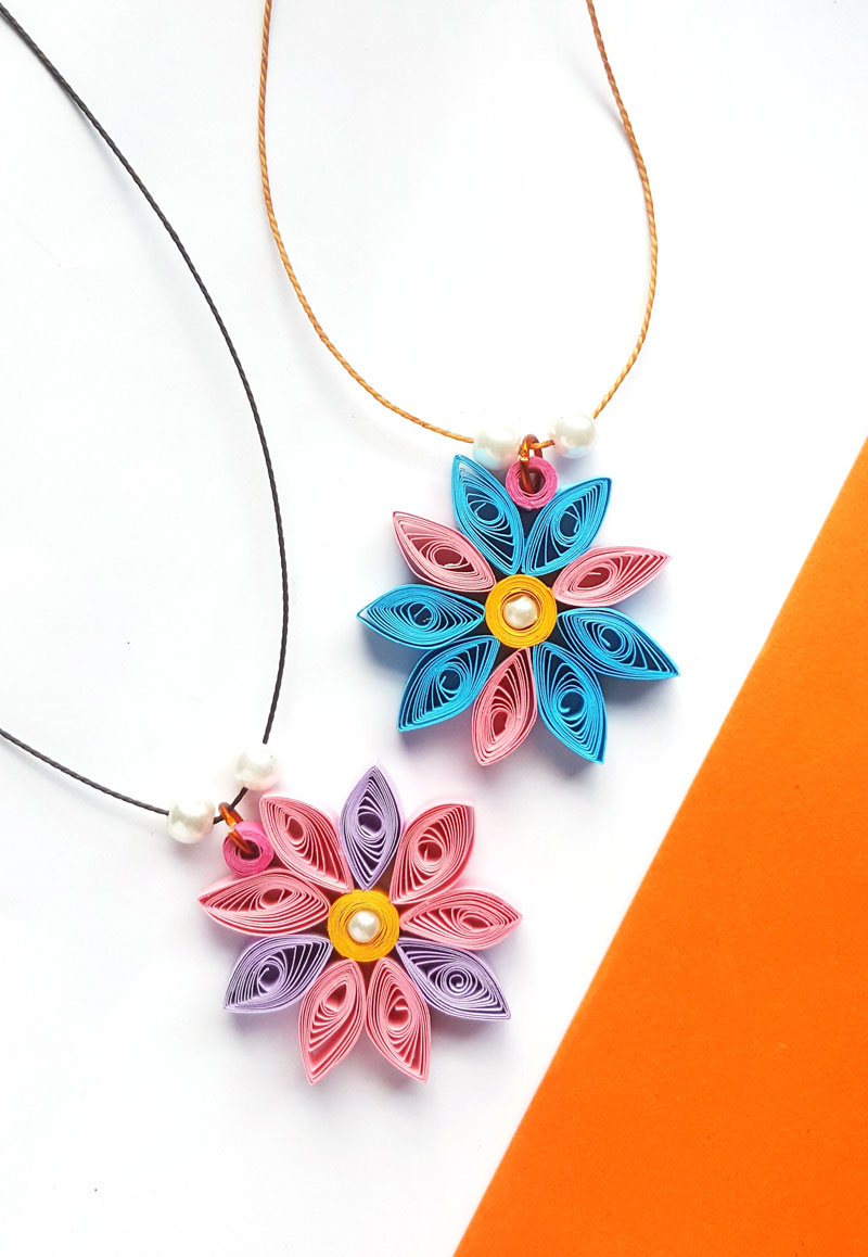 Paper Quilling Flower Pendant