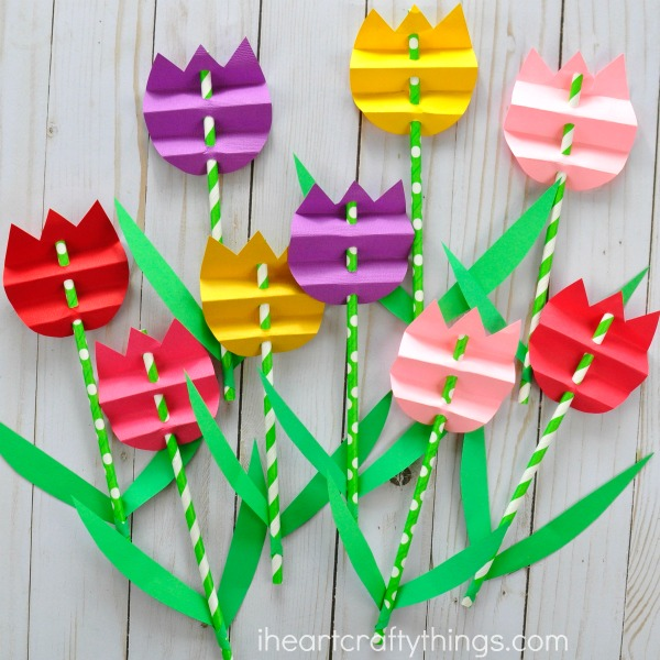 Paper Straw Tulips
