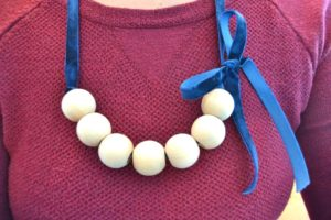 Wood and Velvet Necklace