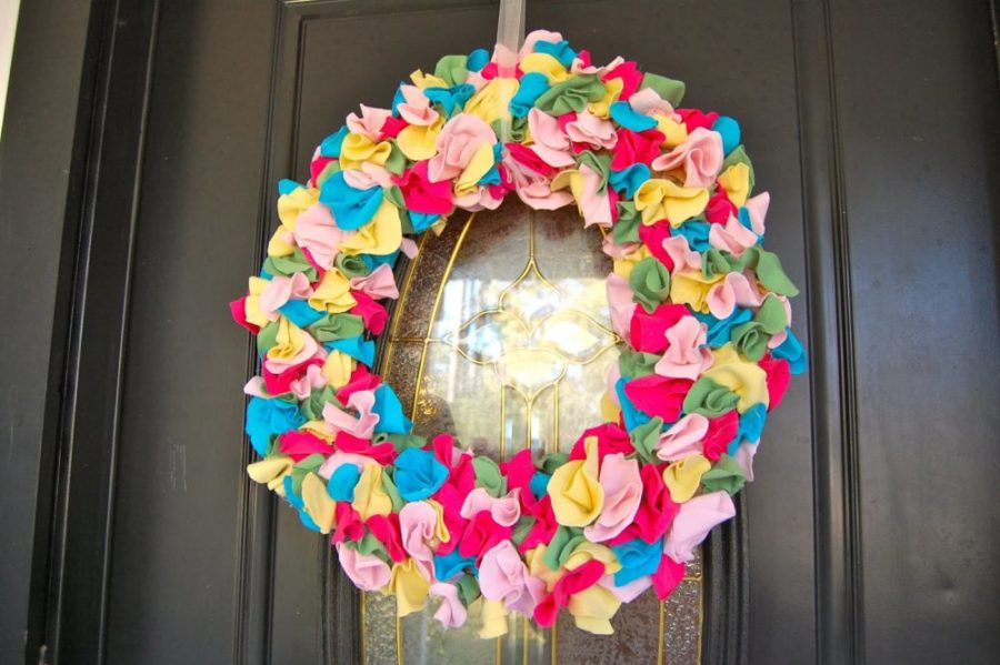 Colorful T-Shirt Scrap Wreath