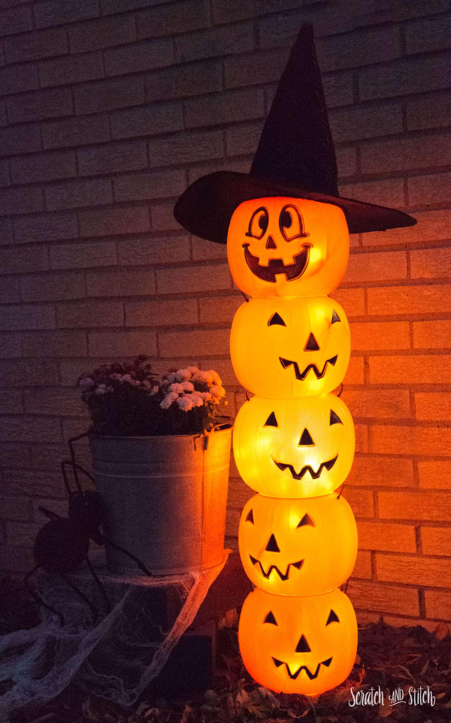 Glowing Plastic Jack O' Lantern Totem