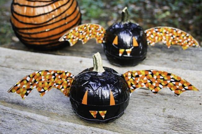 duck tape bat pumpkins