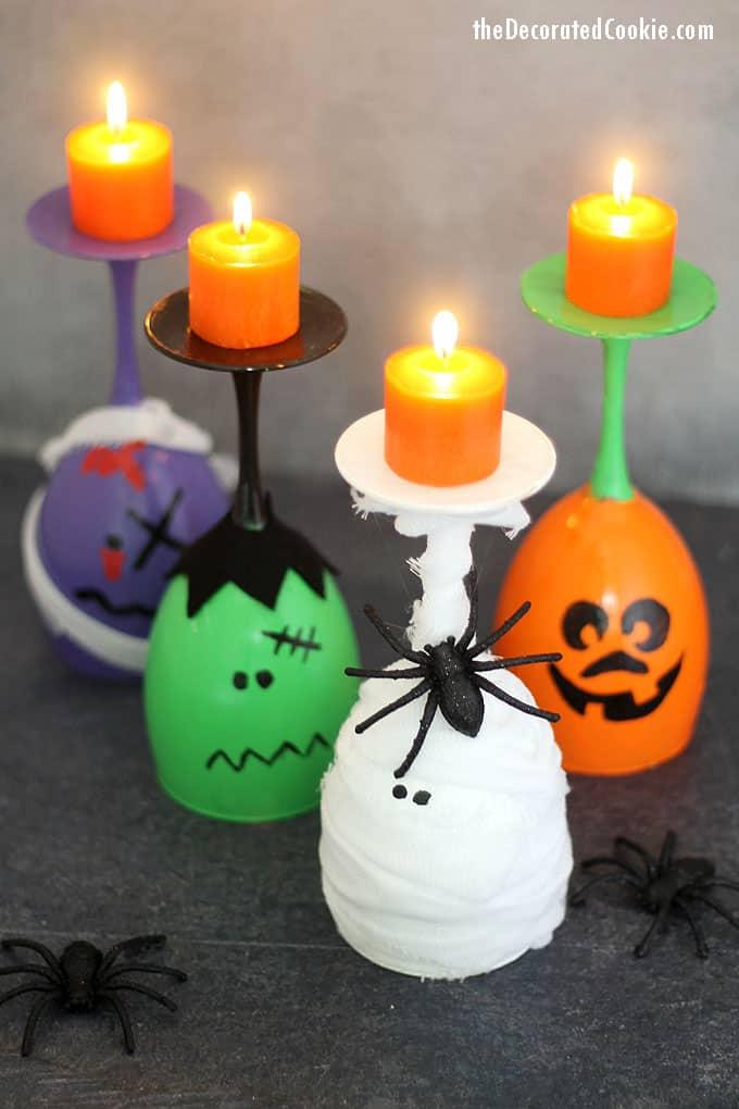 Halloween Wine Glass Candle Holders