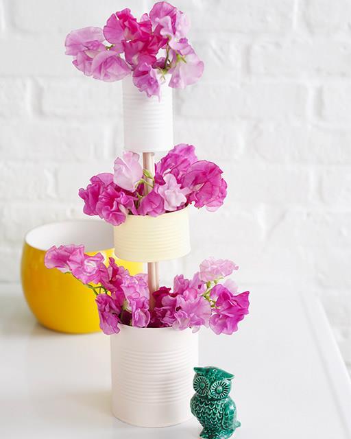 Three Tiered Tin Can Vase