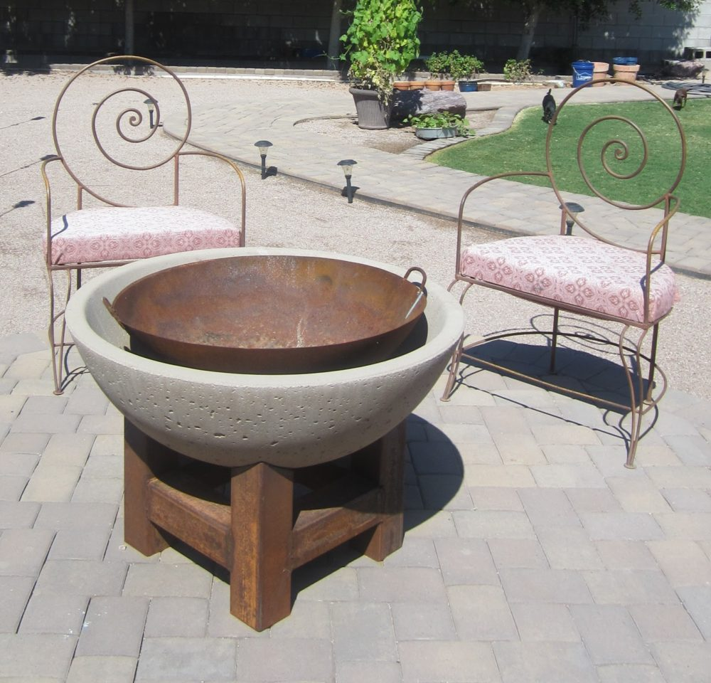 Modern Wood and Cement Fire Pit