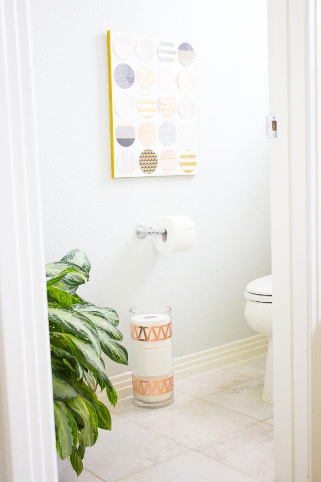 Toilet Paper Storage Using a Glass Vase