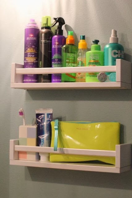 Turn Spice Rack into Bathroom Storage