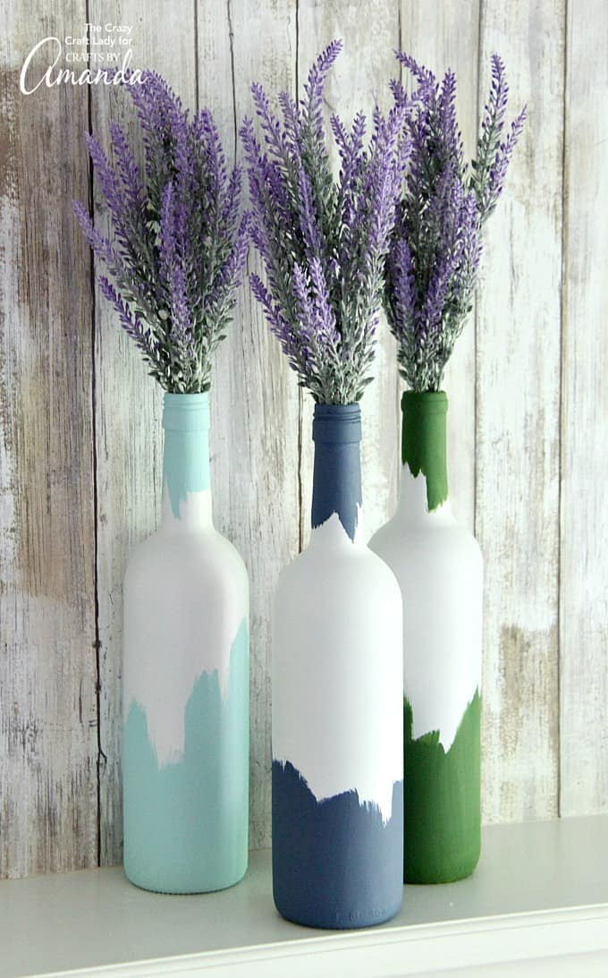 Abstract Painted Wine Bottles