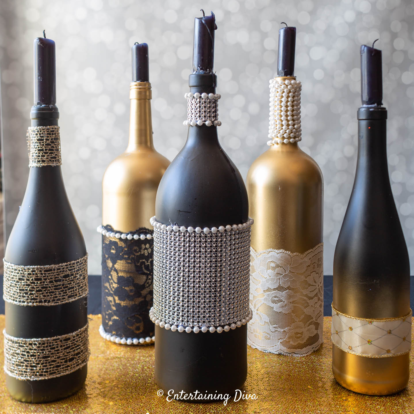 Glam Wine Bottle Centerpieces
