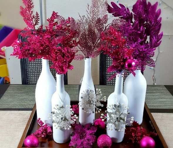 Holiday Wine Bottle Centerpiece