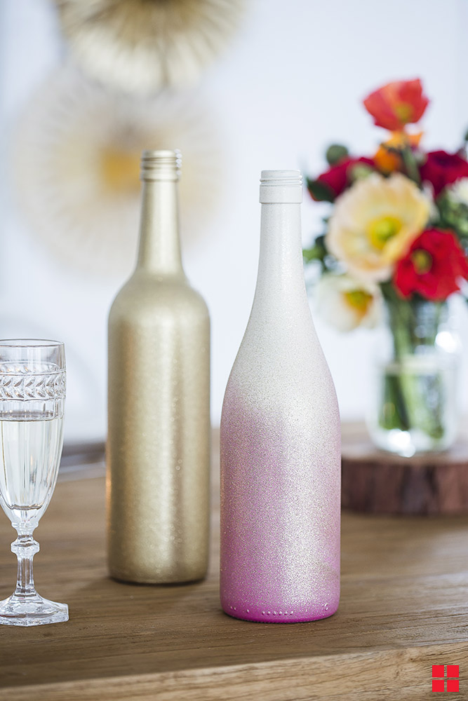 Ombre Wine Bottle Wedding Table Centerpieces